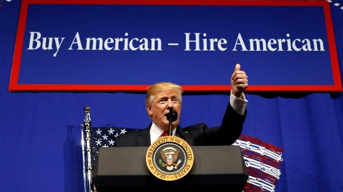 President Donald J Trump  SIGNED BUY AMERICAN AND HIRE AMERICAN